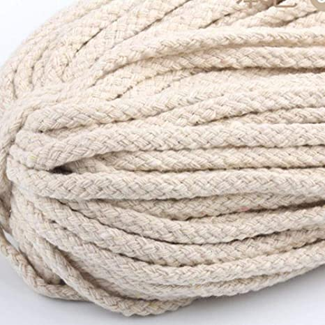 Beige Cotton Rope 5mm Decorative Rope Cotton Cord 100/% Cotton Cord Raw for Crafts Braiding Cord Drawstring Rope 90 Meters