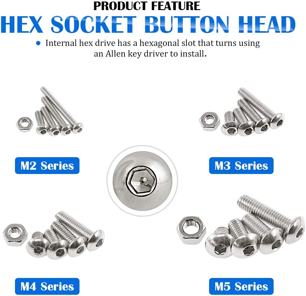 3//4 5 Stainless Steel Allen Hex Drive Button Head Socket Cap Bolts Screws Assortment Kit Glarks 520Pcs M2