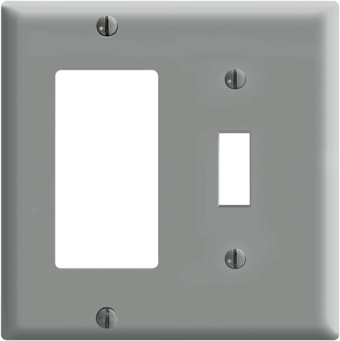 Leviton 80405-GY 2-Gang 1-Toggle 1-Decora/GFCI Device Combination Wallplate, Standard Size, Thermoset, Device Mount, Gray