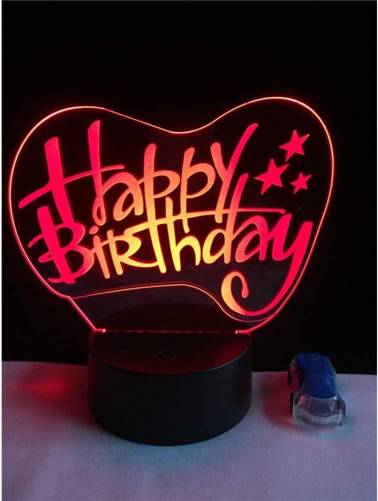 WZYMNYD Creativo Feliz Cumpleaños Palabra 3D LED Lámpara USB 7 ...