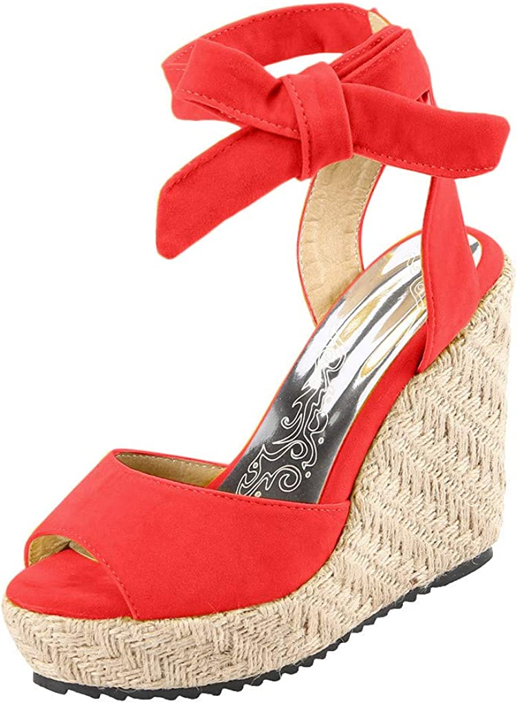 Womens Lace up Platform Wedges Sandals Classic Open Toe Ankle Strap Shoes Espadrille Sandals