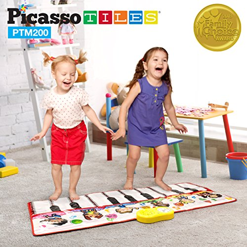 PicassoTiles PTM200 Portable Large Piano Keyboard Educational Music Mat Playmat w/6 Different...