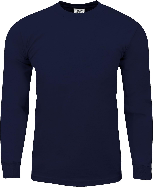 Mens Heavyweight Cotton T Shirt Max Heavy 7 Ounce Long Sleeve Crew Neck Plain Tee Top Tshirts Regular Big Tall Size