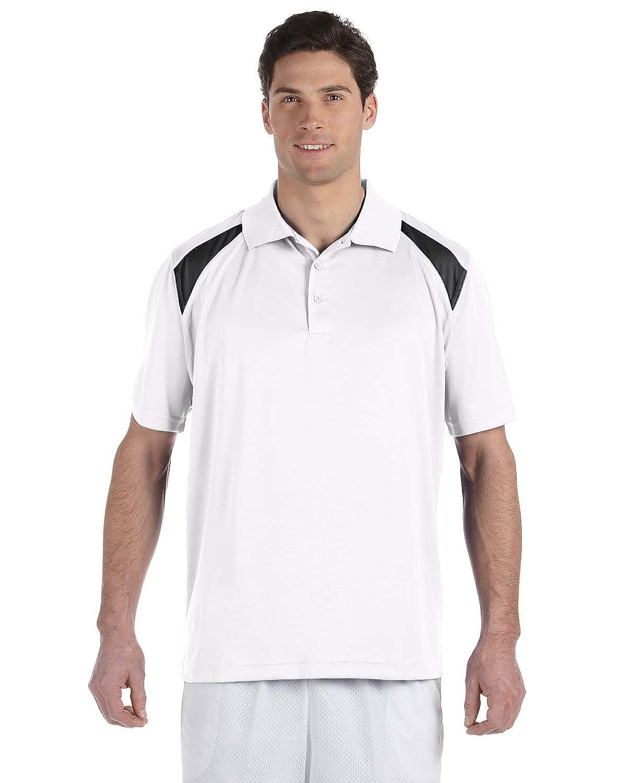 4 oz L Polytech Colorblock Polo White//Black