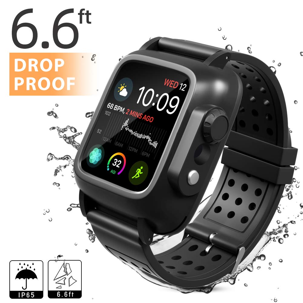 Waterproof Case Compatible with Apple Watch Series 4 40mm with Built-in Screen Protector and Silicone Watch Band Black by MixMart