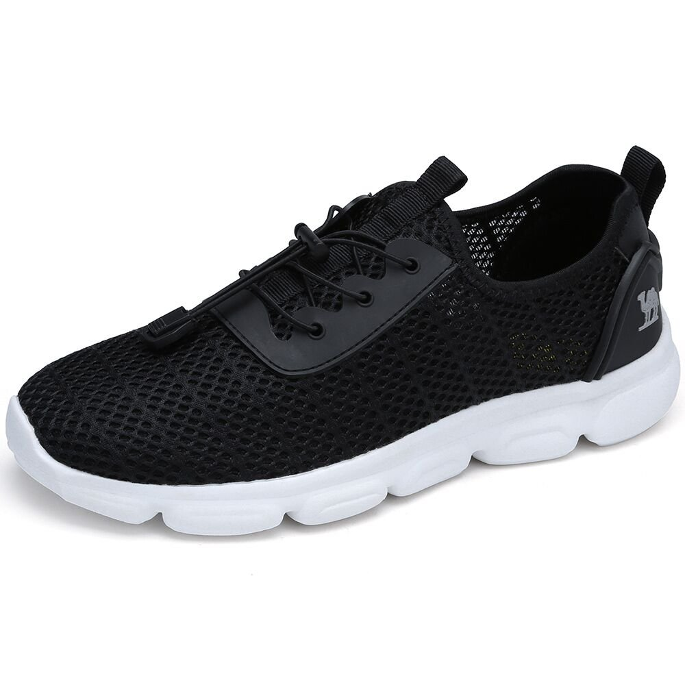 CAMEL SHOES Popular Unisex Casual Walking Shoes Lightweight Trainers Mesh Upper Sneakers Flat Running Fitness Athletic Shoe for Boys Girl Teens, Black, UK9.5/EU44