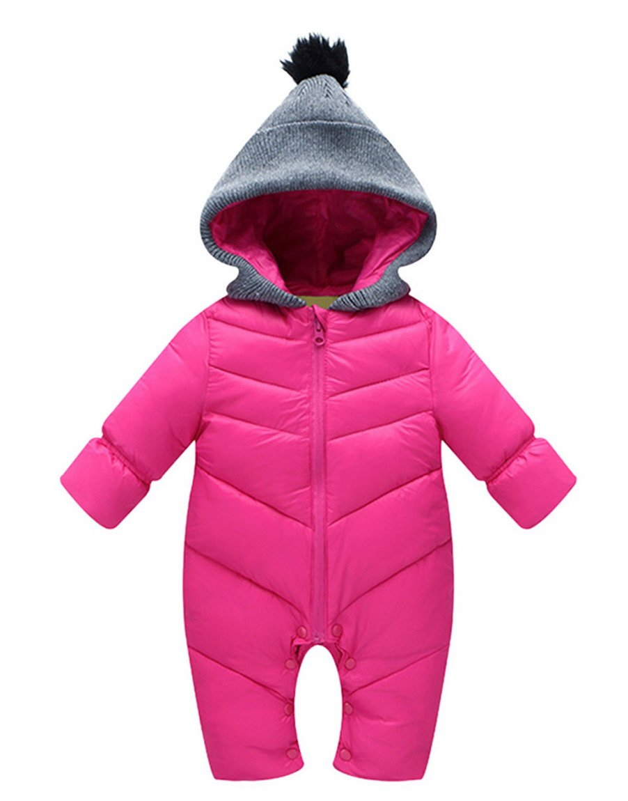 Toddler Unisex Baby Winter Down Long Sleeve Zipped Hooded Snowsuit Boys Thick Jumpsuit Romer One Piece 18-24 Months Pink by Aivtalk