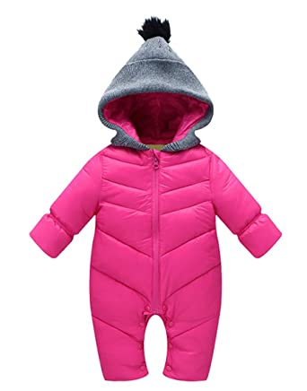 c75144e53 Toddler Unisex Baby Winter Down Long Sleeve Zipped Hooded Snowsuit ...