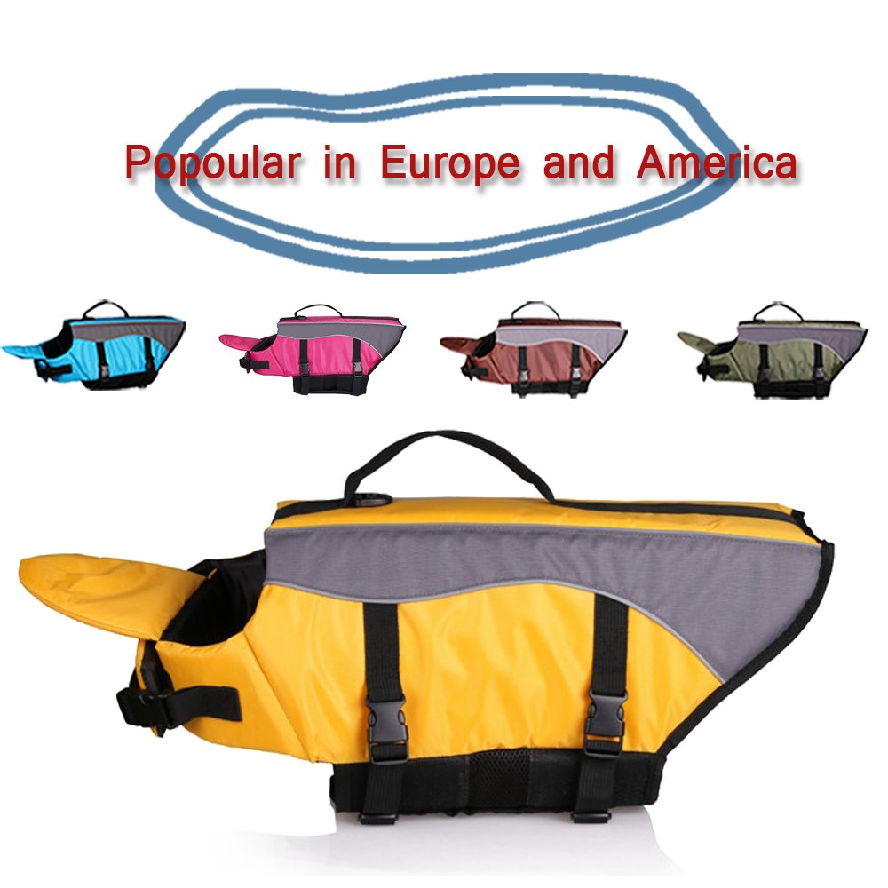 SILD Dog Life Jacket Dog Life Vest Pet Swimming Preserver Coat for Dog Surfing Boating and Swimming (XL, Yellow)