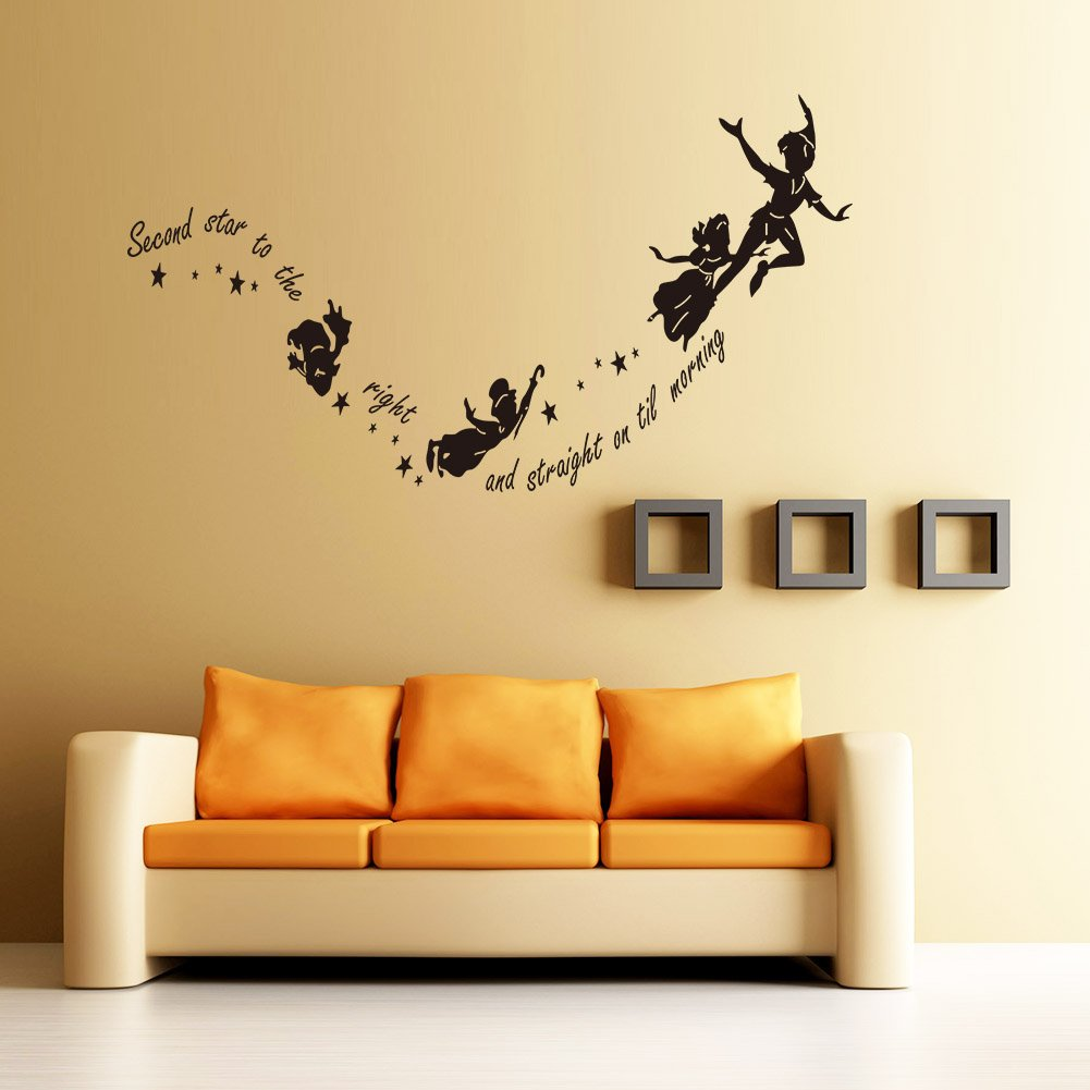 Meihuida peter pan second star to the right tinkerbell wall meihuida peter pan second star to the right tinkerbell wall sticker for room decor black amazon diy tools amipublicfo Images