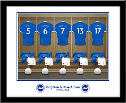 Brighton & Hove Albion FC Official Personalised Dressing Room Framed Print 16 x 13