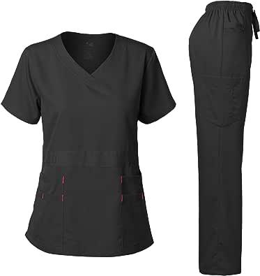 Dagacci Medical Uniform Natural Stretch Premium Women's Scrubs Set Stretch Ultra Soft Top and Pants