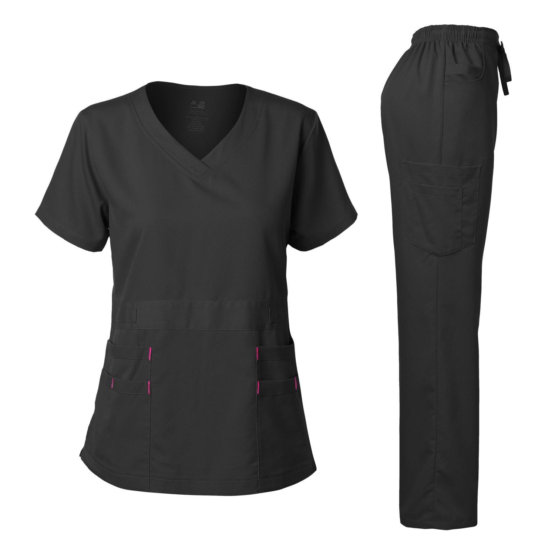 Women's Scrubs Set Stretch Ultra Soft V-NECK Top and Pants Black M