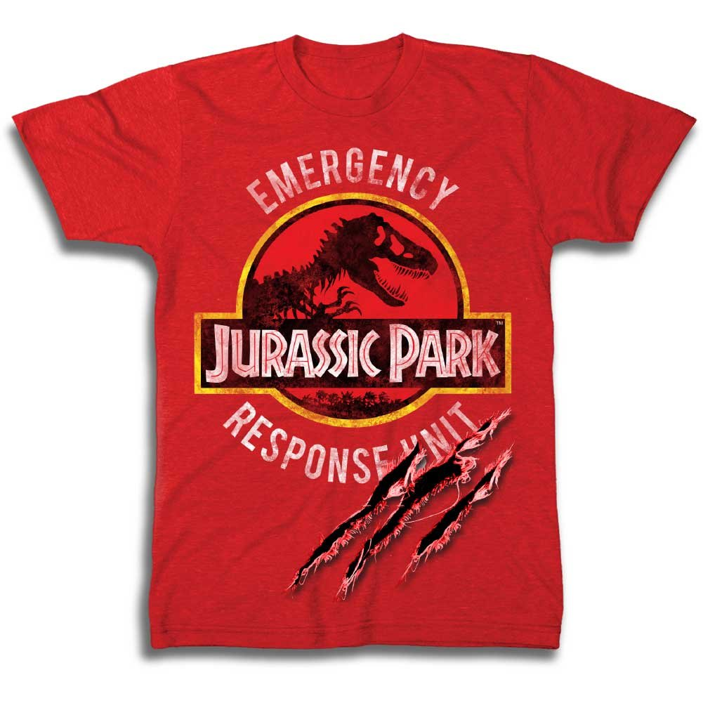 Jurassic Park Boys Dinosaur Shirt Park Dinosaur Emergency Response Unit Tee World T-Rex Shirt (M)