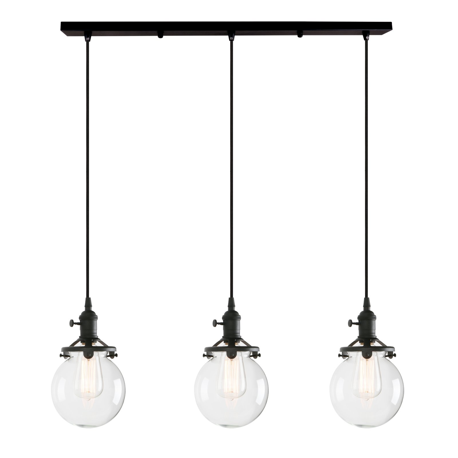 Permo Vintage Rustic Industrial 3-Lights Kitchen Island Chandelier Triple 3 Heads Pendant Hanging Ceiling Lighting Fixture with Mini 5.9'' Round Clear Glass Globe Shade (Black)