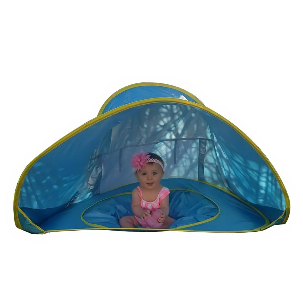 Baby Pop Up Beach Tent with a Pool Provides Portable Shade and  a UV Protection Sun Shelter.