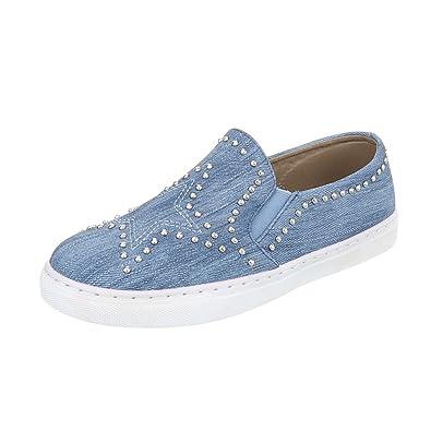 29f087ecf3b420 Ital-Design Sneakers Low Damen-Schuhe Sneakers Low Nieten Besetzte Freizeitschuhe  Hellblau