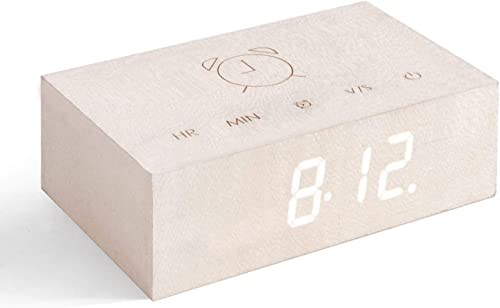 Gingko Flip Click Clock LED Alarm Clock Sound Activated with New Flip Technology, Rechargeable with Laser Engraved Touch Controls in White Maple