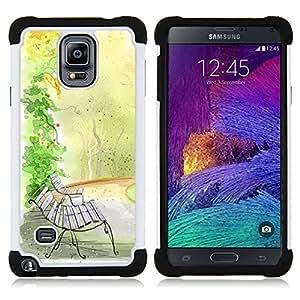"""Pulsar ( Bench Acuarela caída del otoño de la naturaleza"""" ) Samsung Galaxy Note 4 IV / SM-N910 SM-N910 híbrida Heavy Duty Impact pesado deber de protección a los choques caso Carcasa de parachoques [Ne"""