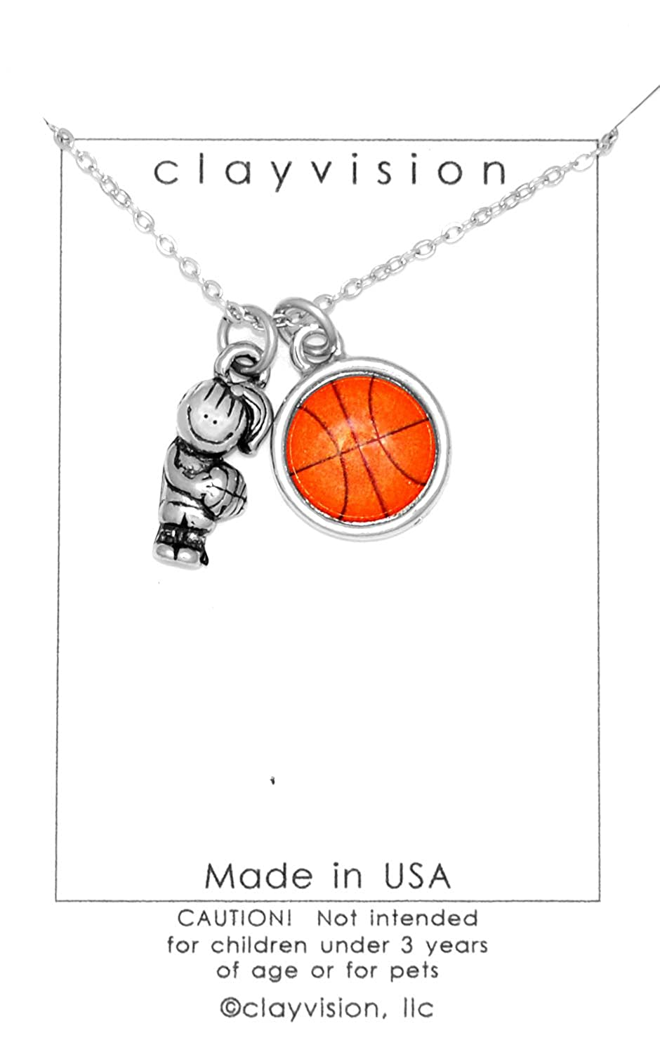 Clayvision Hoops Girl with a Color Basketball Charm on a Necklace