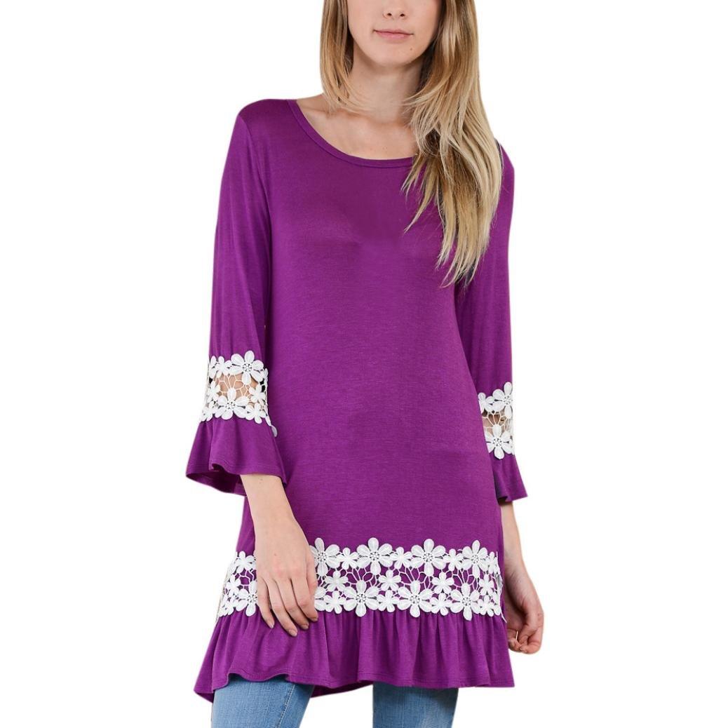 Women Blouse, Neartime Women O Neck Lace Long Sleeve Loose Tops T Shirt (XL, Purple)