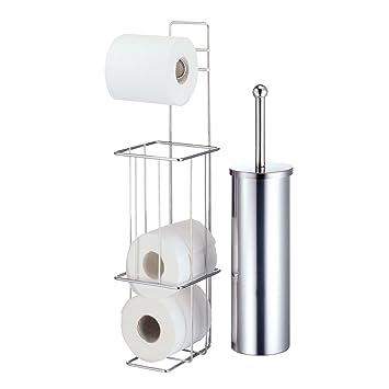 Schon Freistehender Chrom Draht Toilettenpapierhalter U0026 Brush Set