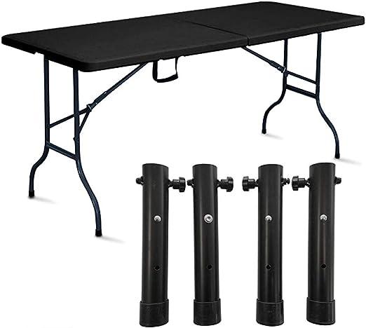 Rekkem Table Pliante Noire avec 4 réhausses: Amazon.fr: Jardin