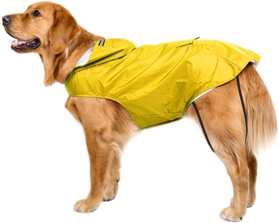 Bwiv Impermeable para Perros Grandes con Capucha Ajustable Ultra-Light Transpirable Impermeable para Mascotas Perros con Banda Reflectante Talla 3XL-5XL (6XL, Amarillo)