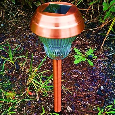 Promotion 6Pack White/Blue Dual LED Glass Lens Copper Finish Solar Lights Outdoor Sogrand Solar Pathway Lights Solar Landscape Lighting Solar Path Lights Solar Garden Lights