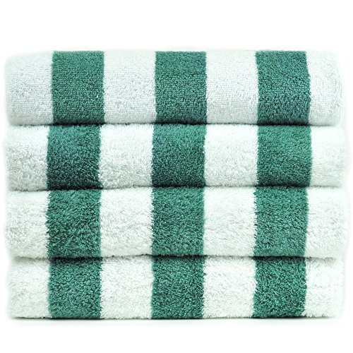 BC BARE COTTON Collection Luxury Hotel & Spa 100% Turkish Cotton Pool Beach Towels-Sea Green-Cabana-Set of 4