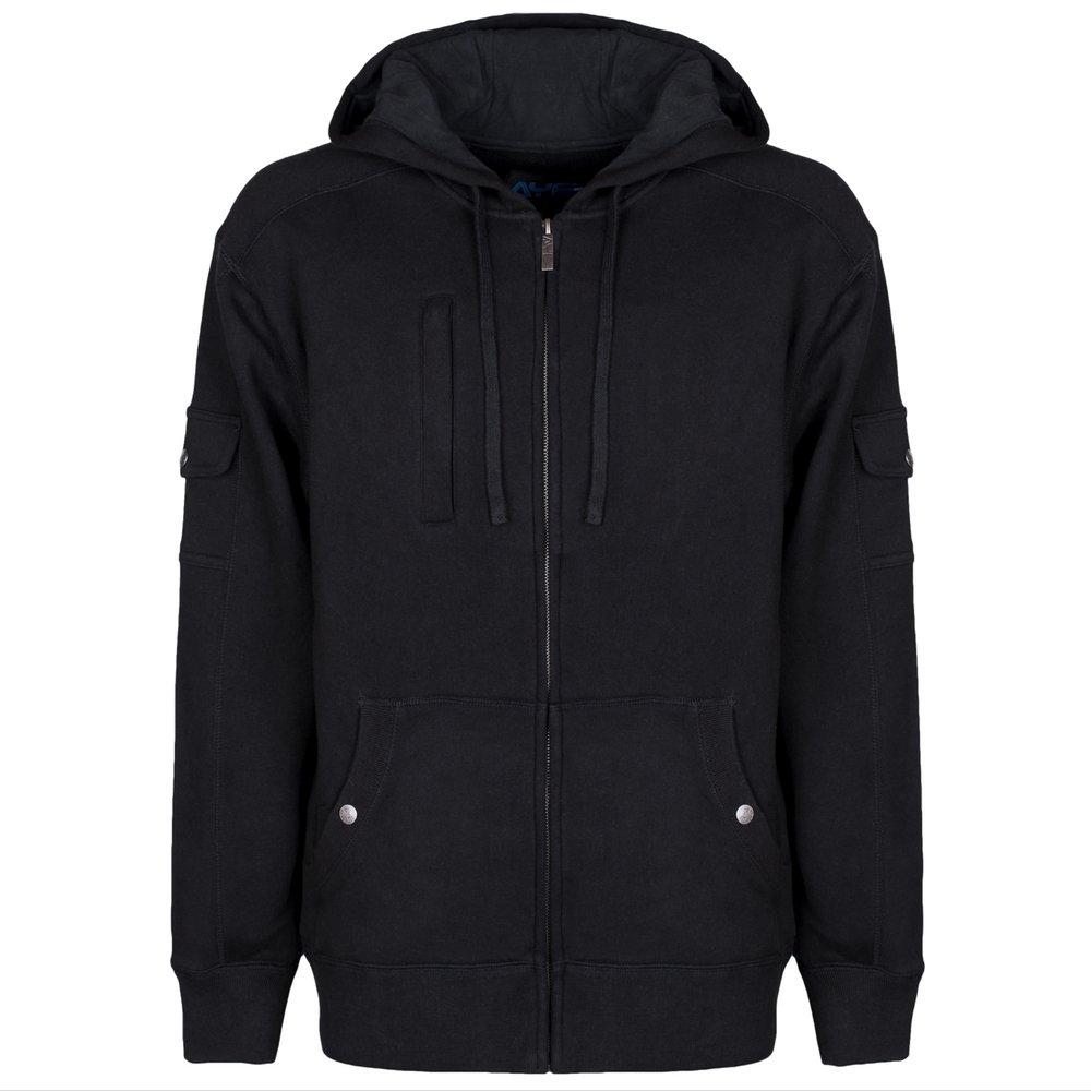 AyeGear H13 Hoodie with 13 Pockets, iPad or Tablet Pocket, Fleece, Black XL