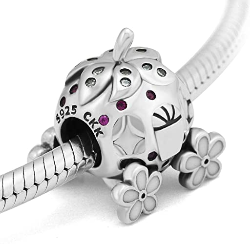 Clear Solid 925 Sterling Silver Studded Barrel CZ Charm Bead