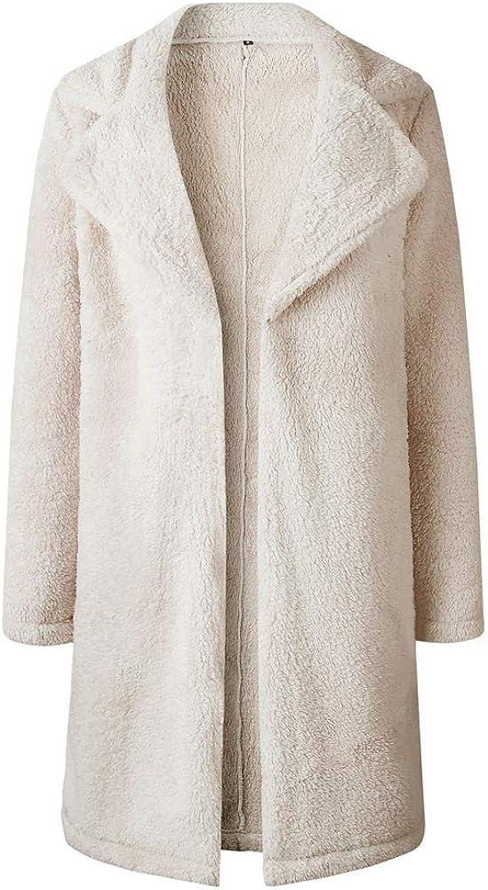 Ulanda Womens Thick Warm Fleece Long Sleeve Open Front Coat Thermal Jackets Long Outwear Overcoat