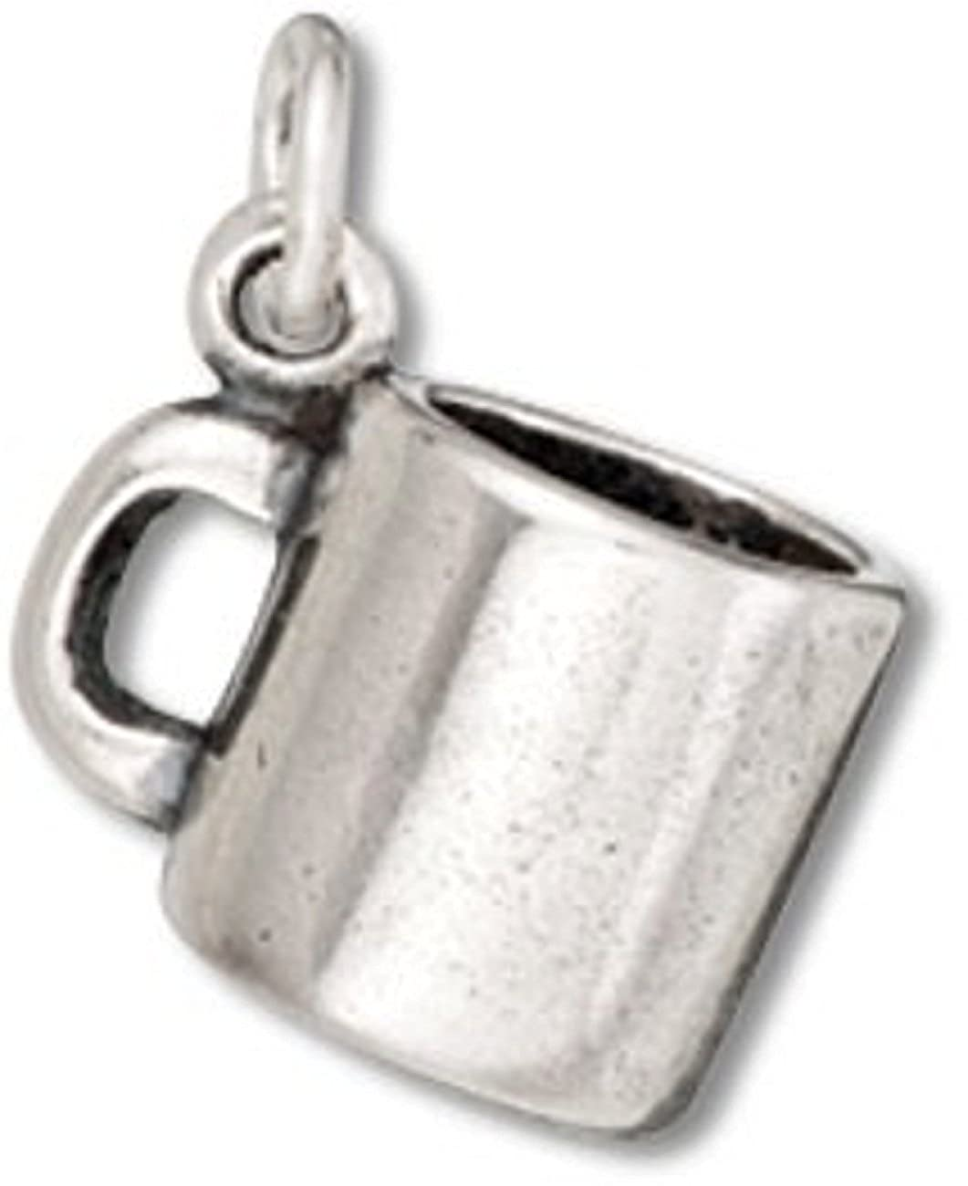 Sterling Silver Girls .8mm Box Chain 3D Coffee Mug Drinking Cup Pendant Necklace