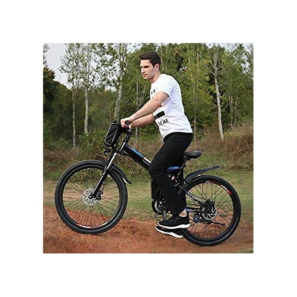 AMDirect Bicicletta da Montagna Elettrica Pieghevole con Ruote di 26 Pollici Batteria Litio di Grande Capacità 36V 250W… 3 spesavip