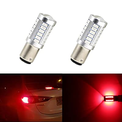 Extremely Bright 1157 7528 LED BAY15 Bulb Brake Light Bulbs 33 SMD Brilliant Red Tail Lights Stop Lamp with Projector Lens Replacement 2pcs: Automotive