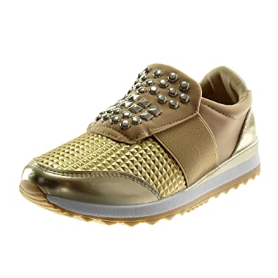 Angkorly - Damen Schuhe Sneaker Keilabsatz - Sporty chic - Tennis - Slip-on  - 644e70b846