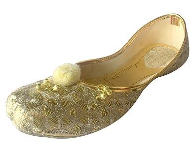 Schritt N Style Indischen Schuhe Panjabi Jutti Bridal Schuhe Khussa Schuhe Mojari Frauengewand Juti, Gold - Gold - Größe: 39 1/3 Step n Style
