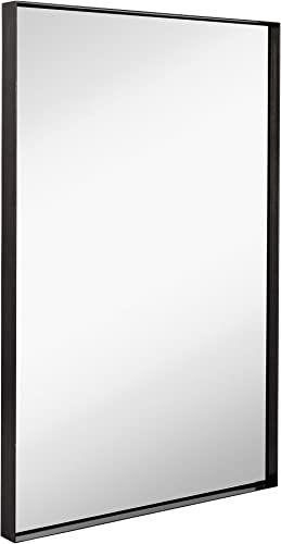 Hamilton Hills Contemporary Brushed Metal Wall Mirror Glass Panel Black Framed Squared Corner Deep Set Design Mirrored Rectangle Hangs Horizontal or Vertical 24 x 36