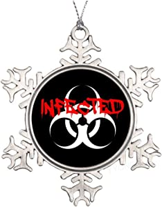 yyone Unique Holiday Decor Infected Classic Ornament Gift for Christmas,Halloween Birthday and So,Metal Snowflake Shape Souvenior