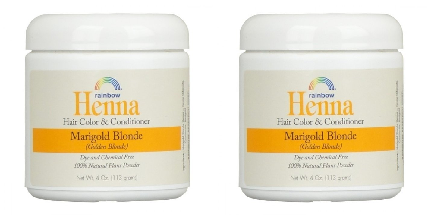 Rainbow Research Henna Marigold Blonde Hair Color and Conditioner (Pack of 2) With Marigold Flowers and Chamomile, 4 oz. each. by Rainbow Research