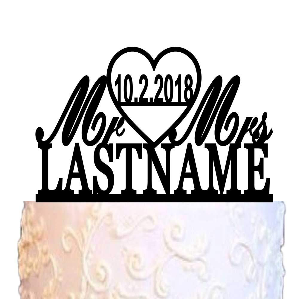 ivisi Personalized Wedding Cake Topper Monogram Last Name Surname Decoration Anniversary Gift (Design 5)