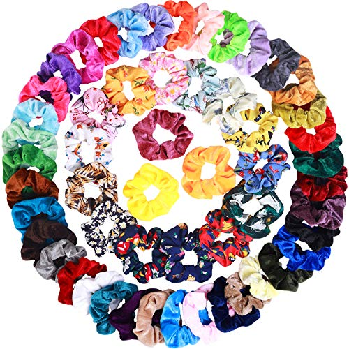 54 Pcs Hair Scrunchies 40 Velvet Hair Scrunchies 14 Chiffon Hair Scrunchies Hair Elastic Scrunchy Ties Ropes Scrunchie for Women or Girls Hair Accessories, 54 Assorted Colors ()