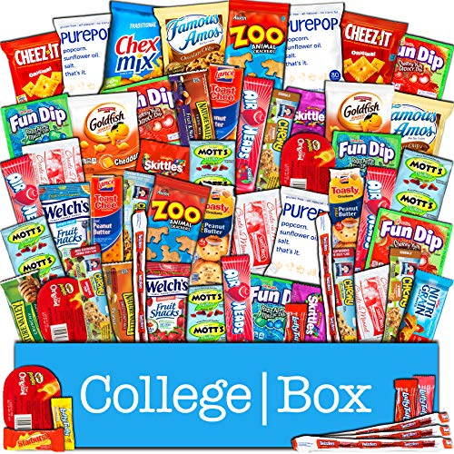 CollegeBox – Bulk Snacks Care Package (60 Count) for College Students - Variety Assortment Gift Box with Treats for Studying and Dorm Rooms – Chips, Cookies, Candy and More by CollegeBox