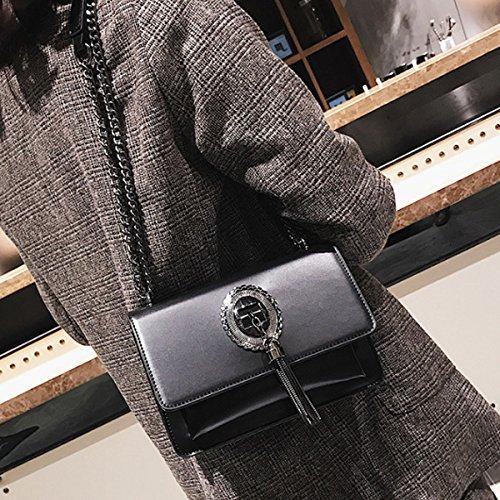 Shoulder Closure body Bag Clutch Leather Lock Women's Black with Fashion Meliya Handbag Patent Cross 2 Chain qU8OH