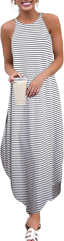 Vestito Estivo da Donna Tinta Unita Lungo Casual con Spalle Fredde YOINS Senza Maniche