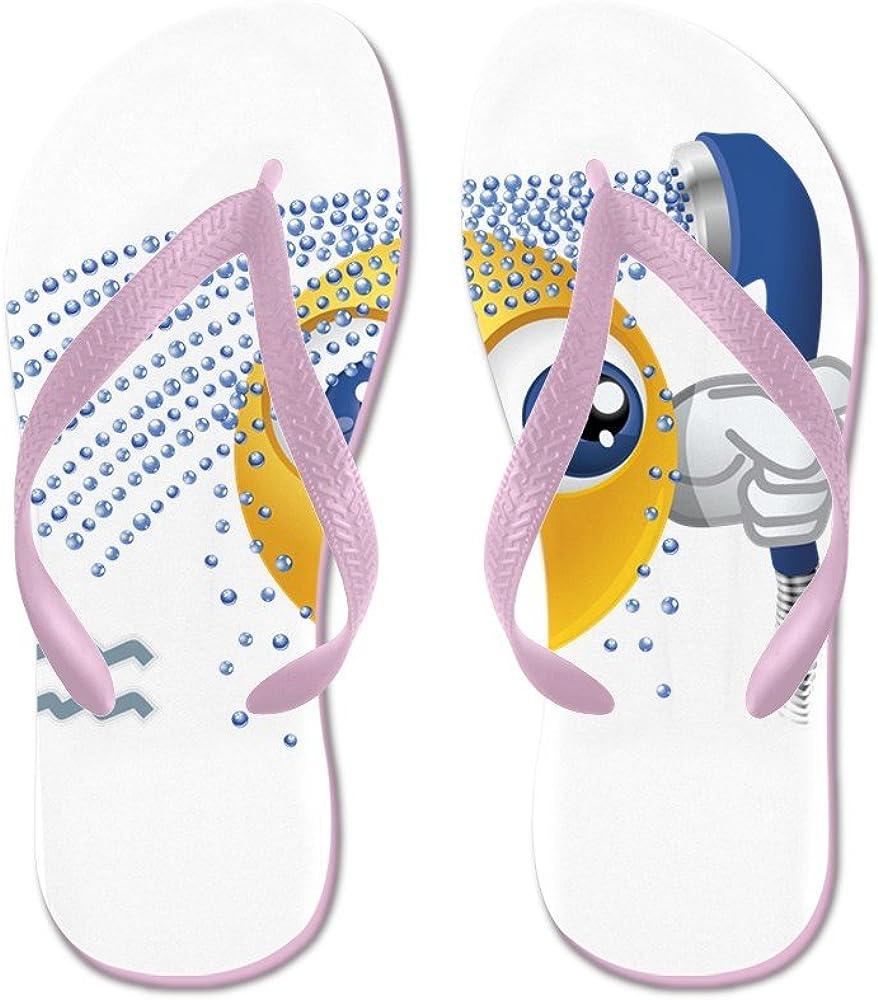 Truly Teague Mens SmileyFace Zodiac Aquarius Rubber Flip Flops Sandals