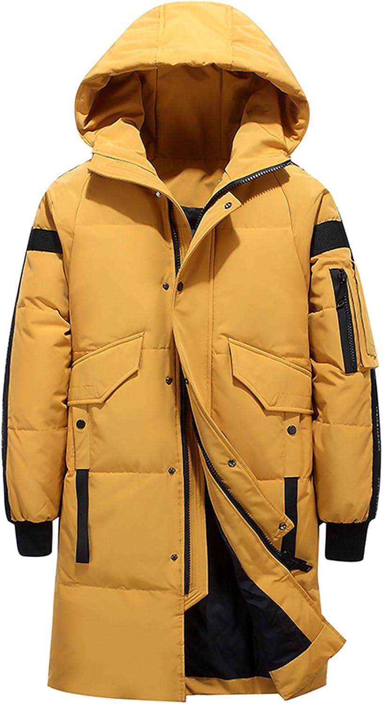 Doudoune Homme Hiver Chaud DéContracté Coupe-Vent Long éPais à Capuche Manteau Hommes Solide Mode Parkas yellow