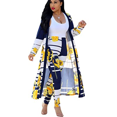 Womens 2 Piece Outfits Strips Floral Print Open Front Cardigan and Pants Set at Women's Clothing store