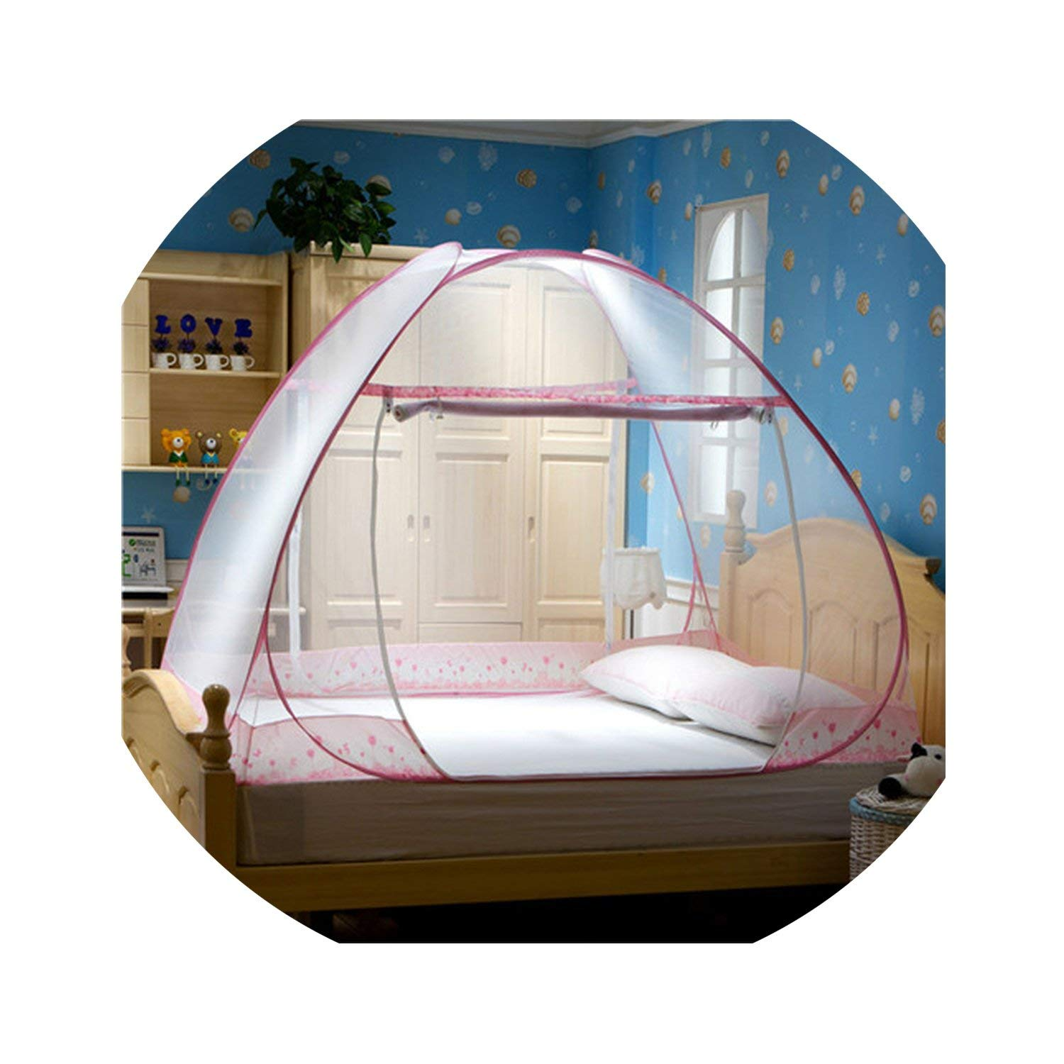 Home Textile Blue Folding Mongolian from Zero Net Pink Portable Mosquito Nets Bed Insecticide Treated Netting 1.8M Double Bed Net,Pink Two Door,1.5M (5 Feet) Bed